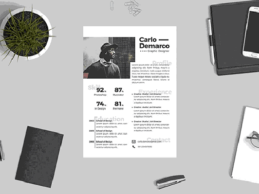 Creative design resume .DOC format (#820 – 825)