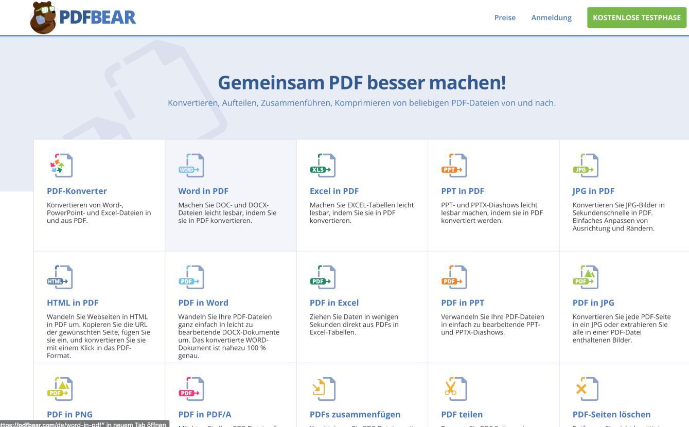 pdfbear mainpage